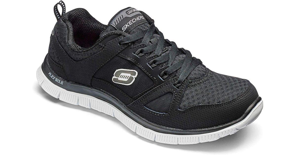 0cae3a055f96 Skechers Flex Appeal Trainers Wide Fit in Black - Lyst