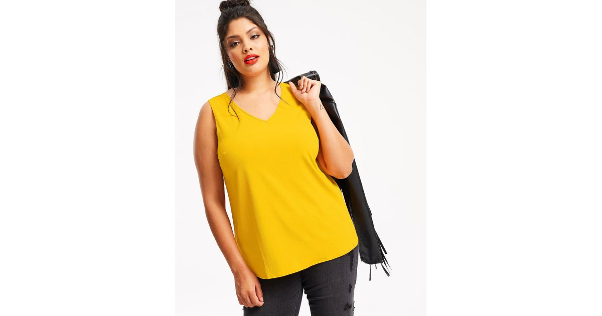 322c92675a05a Lyst - Simply Be V-neck Vest With Metal Ring in Yellow