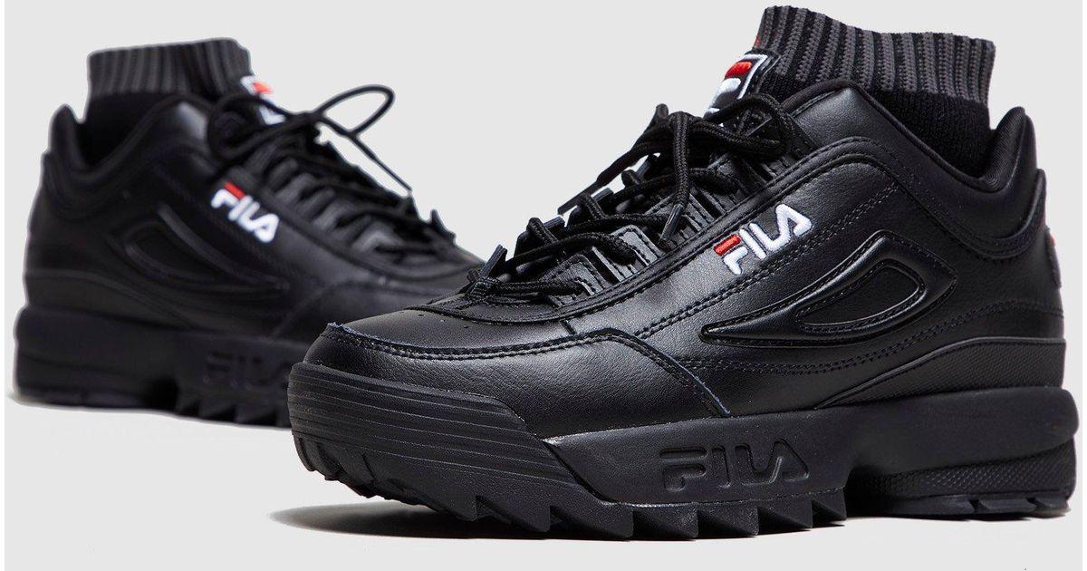 5f61a90791b9 Fila Disruptor Evo Sockfit Women s in Black - Lyst