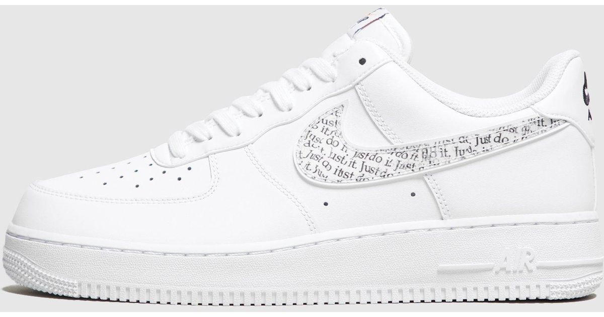 9cc314b6ec18 Lyst - Nike Air Force 1  just Do It  in White
