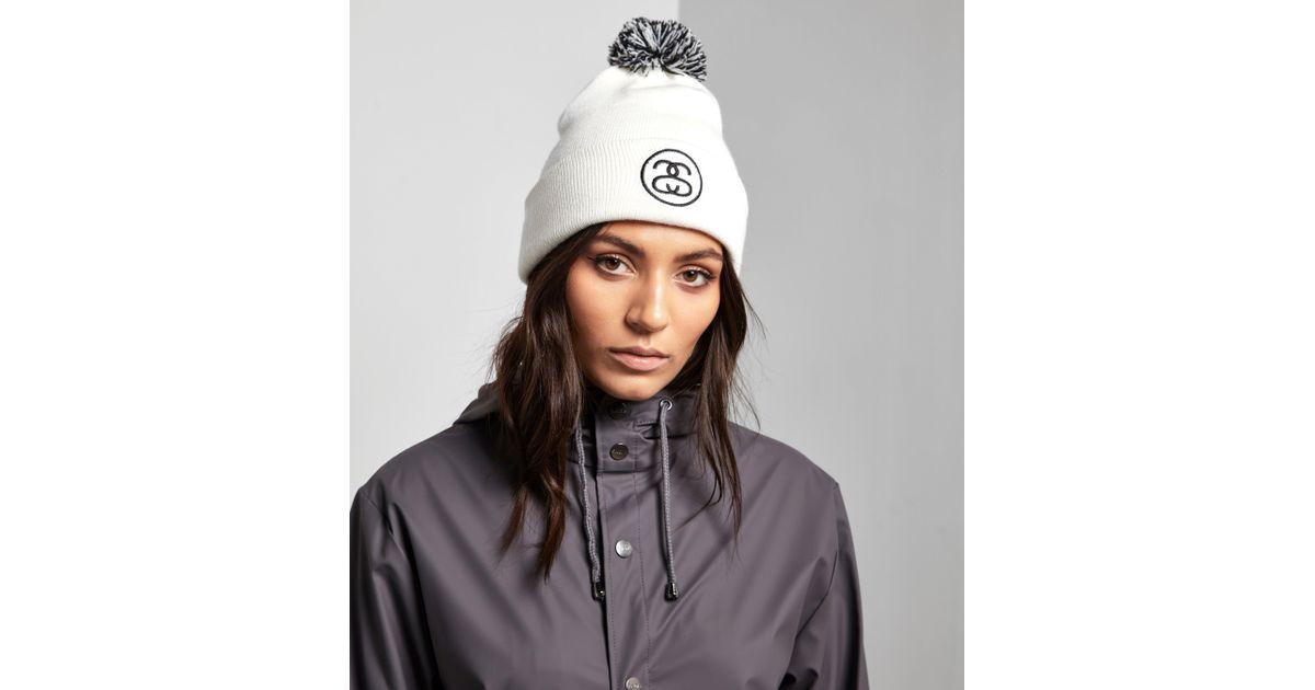 Lyst - Stussy Ss Link Pom Beanie Hat in White 0a8da9b0830