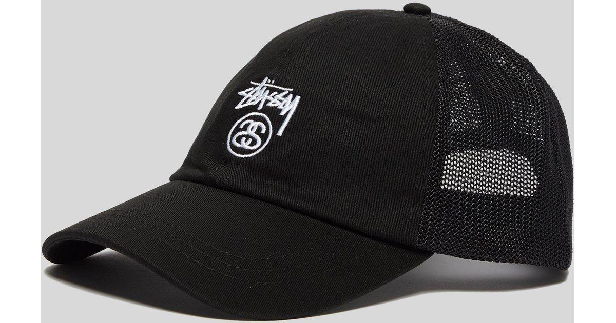 Stussy Stock Logo Trucker Cap in Black for Men - Lyst 3f8ab820d14