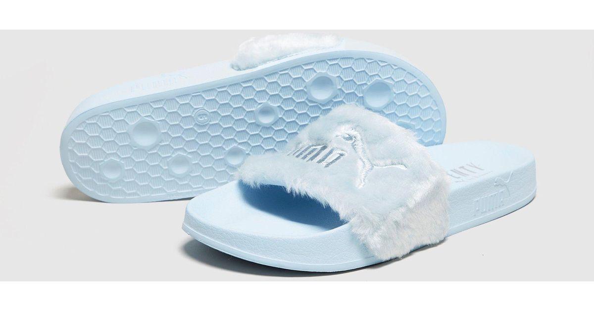 db8ca929d122 Lyst - PUMA Fenty Fur Slides Women s in Blue