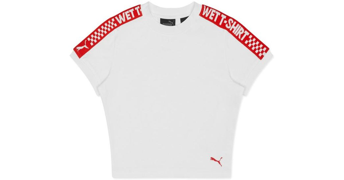 info for e3b11 5f982 PUMA - White Wmns Fenty By Rihanna Cropped T-shirt - Lyst