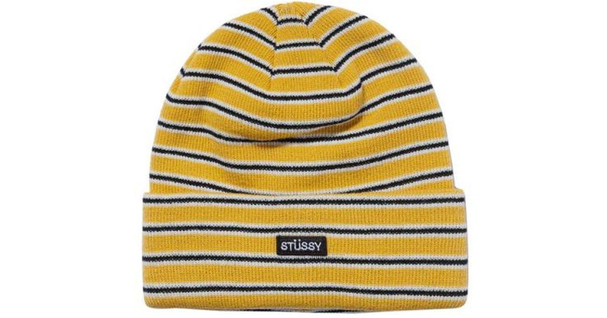 e86e8d324d8 Lyst - Stussy Striped Fa18 Cuff Beanie in Yellow