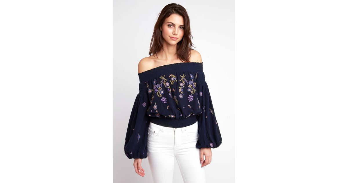 fd71b02ec92fe Lyst - Free People Saachi Smocked Embroidered Top in Blue
