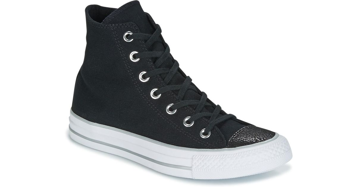 792f538db065fe Converse Chuck Taylor All Star Hi Tipped Metallic Toecap Shoes (high-top  Trainers) in Black - Lyst