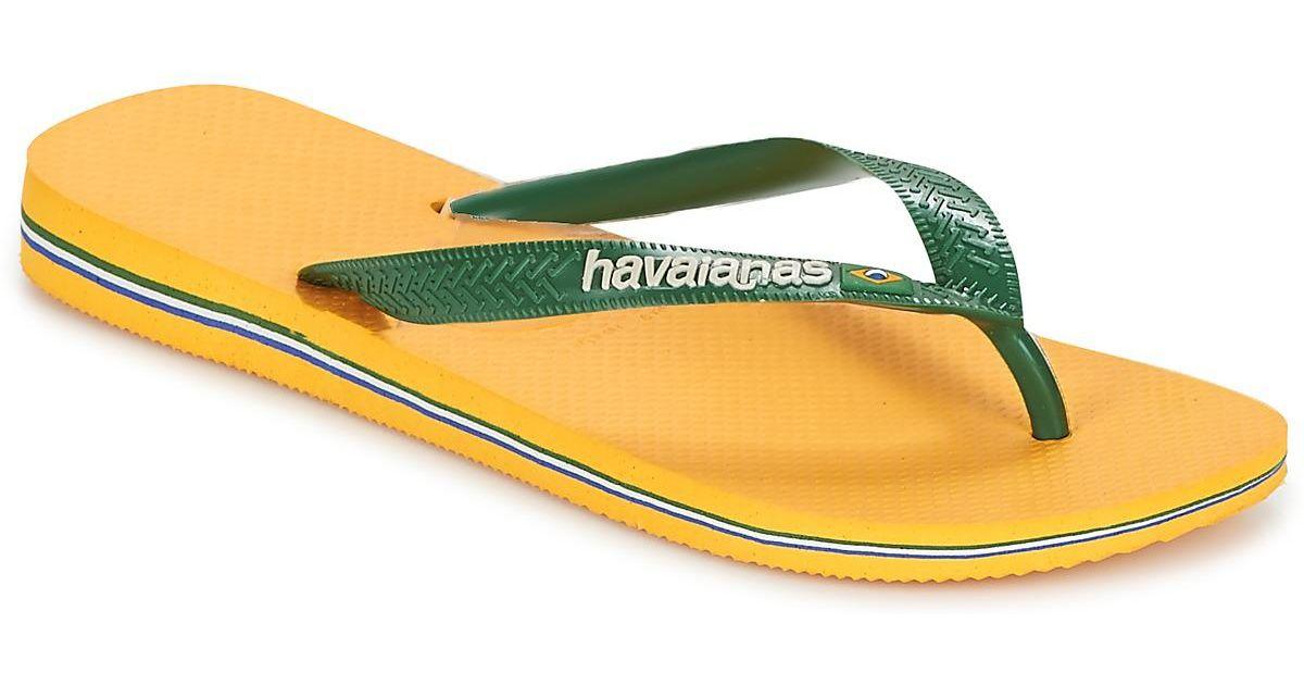 1ac81070abd3 Havaianas Brazil Logo Men s Flip Flops   Sandals (shoes) In Yellow in  Yellow for Men - Lyst