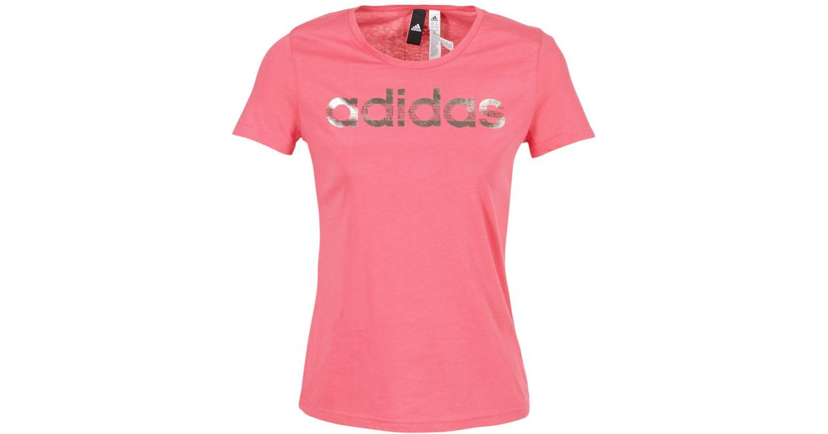 0e96e306 adidas Foil Linear Women's T Shirt In Pink in Pink - Lyst