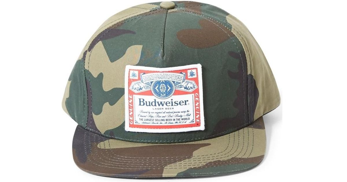 387242bc010 Supreme X Budweiser 2009 Snapback Cap Camo Men s Cap In Green in Green for  Men - Lyst