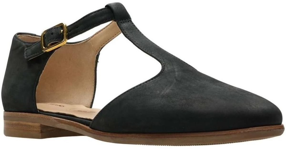 2ac62e2a39c Clarks Alice Rosa Womens T-bar Nubuck Shoe Women s Sandals In Black in  Black - Lyst