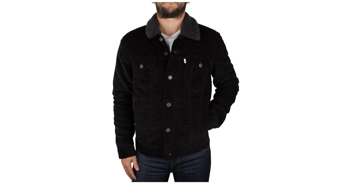 latest fashion store 100% quality quarantee Levi's Levis Men's Sherpa Trucker Jacket, Black Men's Jacket In Black for  men