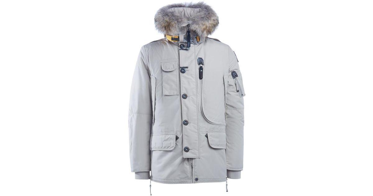 Parajumpers Kodiak Long Ivory Parka With Fur Trimmed Hood Men's Parka In Grey in Gray for Men - Lyst