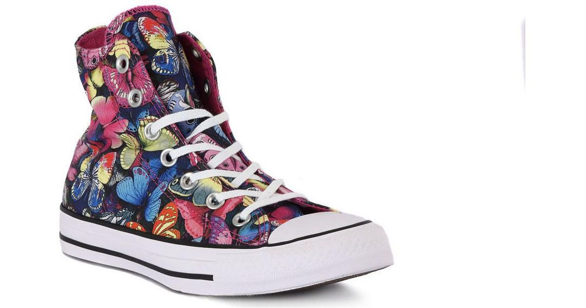 Converse Blue All Star Butterfly Hi Women's Shoes (high top Trainers) In Multicolour