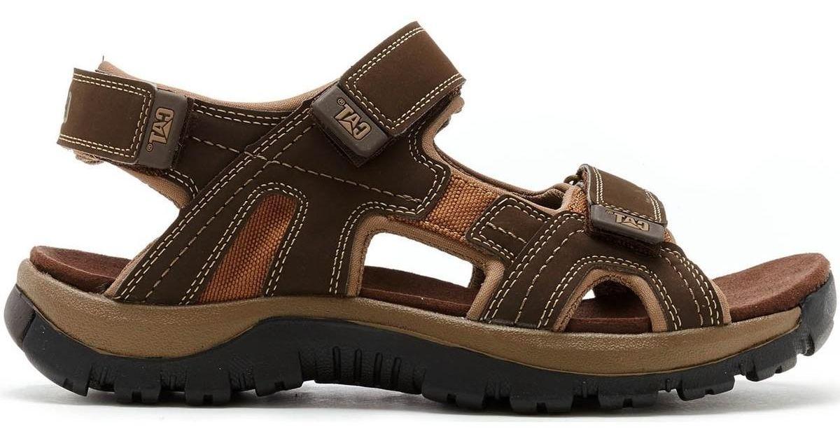 b20308b88 Caterpillar Giles Leather Sandals In Dark Brown P716654 Men's Sandals In  Brown in Brown for Men - Lyst