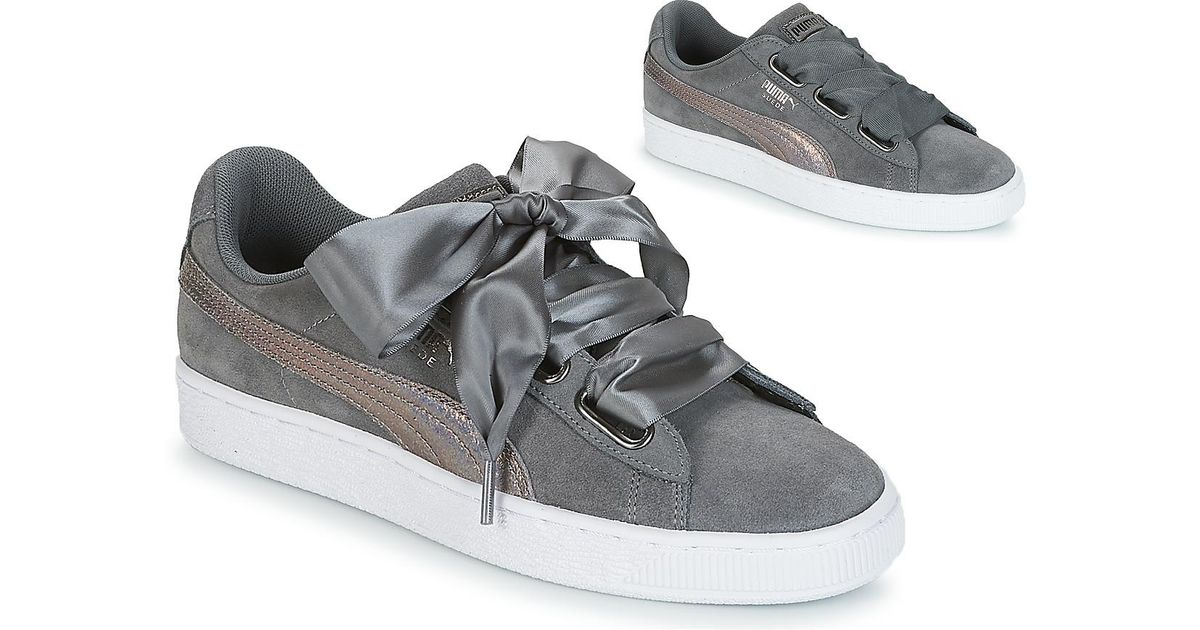 PUMA Gray Suede Heart Lunalux Wn's Smoked Pearl