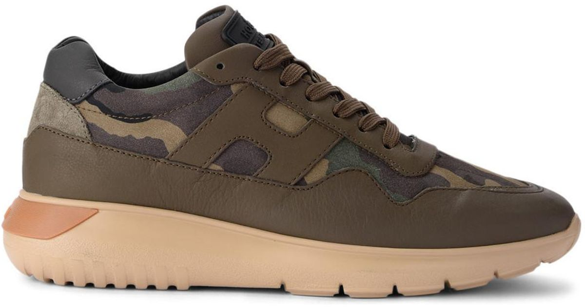 fd87bd5c142ec Hogan Interactive3 Green Leather And Camouflage Fabric Sneaker Men's Shoes ( trainers) In Green in Green for Men - Lyst