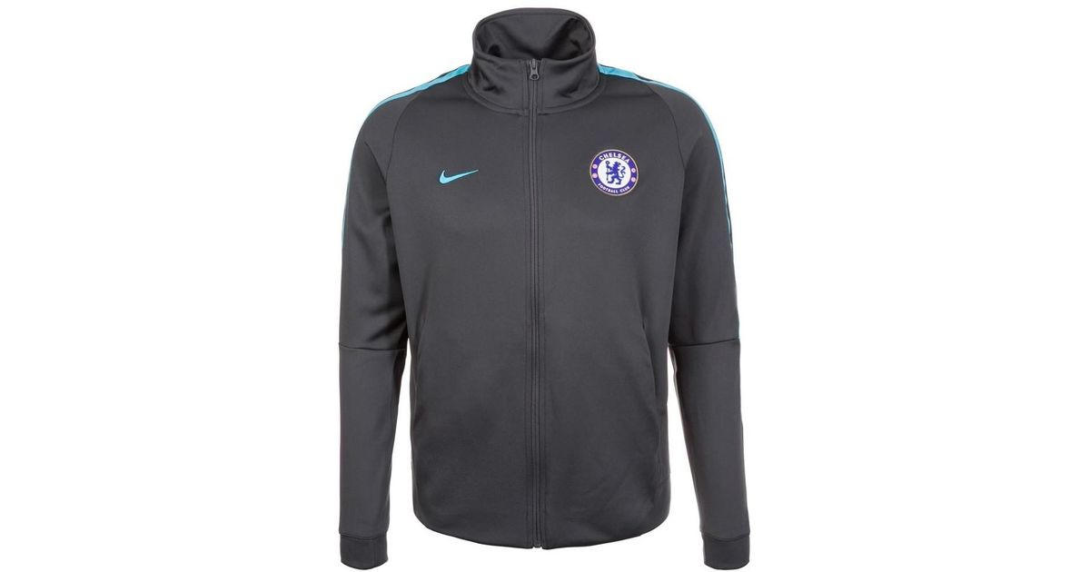 Nike chelsea authentic track jacket anthracite men tracksuit jacket in  black in black for men lyst a2a651593