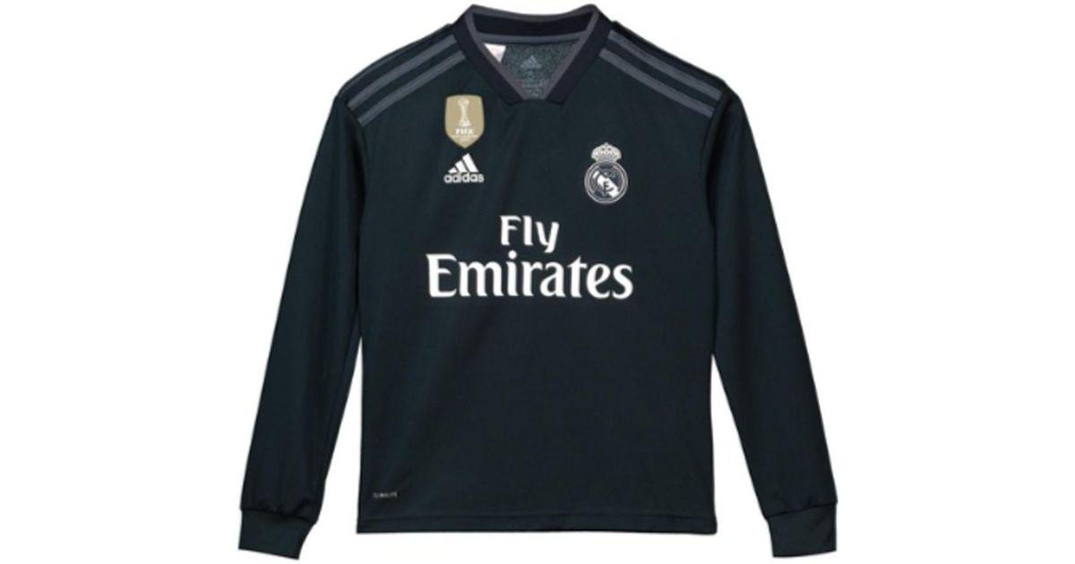 adidas 2018-2019 Real Madrid Away Long Sleeve Shirt (kids) Men s In Black  in Black for Men - Lyst da28948fc3e2c