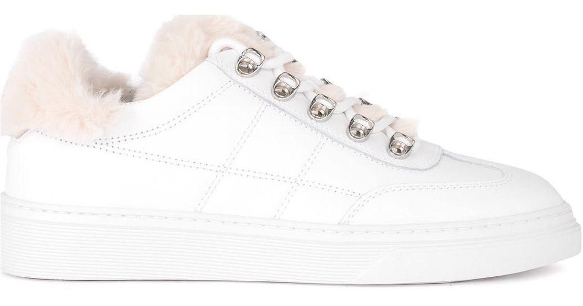 4aab50a12400fe Basket modèle H340 en cuir blanc avec mouton femmes Chaussures en blanc  Hogan en coloris Blanc - Lyst