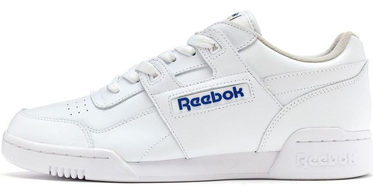 Reebok Classics Workout Plus Trainers In White Royal Blue 2759 Men s Shoes ( trainers) In White in White for Men - Lyst e77ba5677
