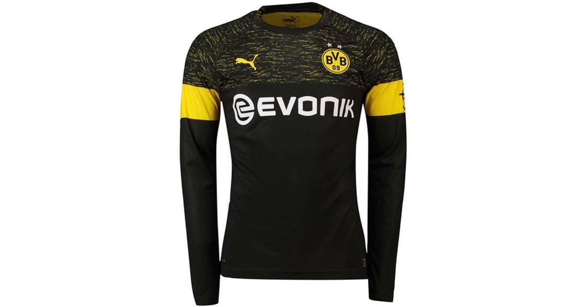 45a9de27a5e PUMA 2018-2019 Borussia Dortmund Away Long Sleeve Shirt Men s In Black in  Black for Men - Lyst