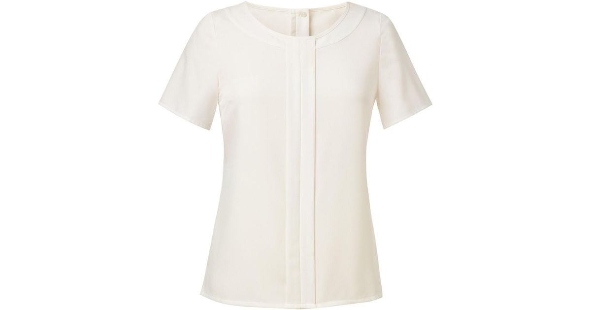 3589a11d58d5e Brook Taverner Womens ladies Felina Crepe De Chine Short Sleeve Blouse  Women s Blouse In Other in White - Lyst