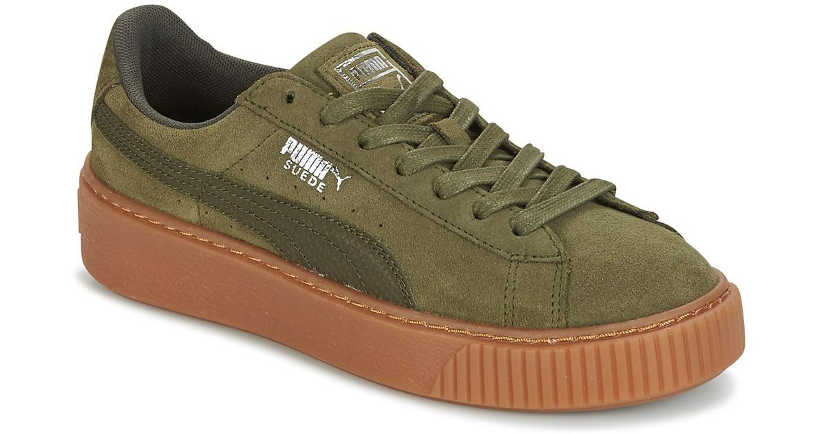 923fc167d6328a PUMA Suede Platform Core Gum Women s Shoes (trainers) In Green in Green -  Lyst