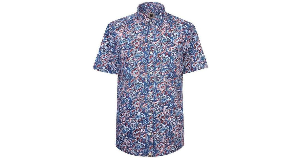 Pretty Green Camley Paisley Short Sleeve Shirt Women s Short Sleeved Shirt  In Blue in Blue - Lyst 4c49a1a64