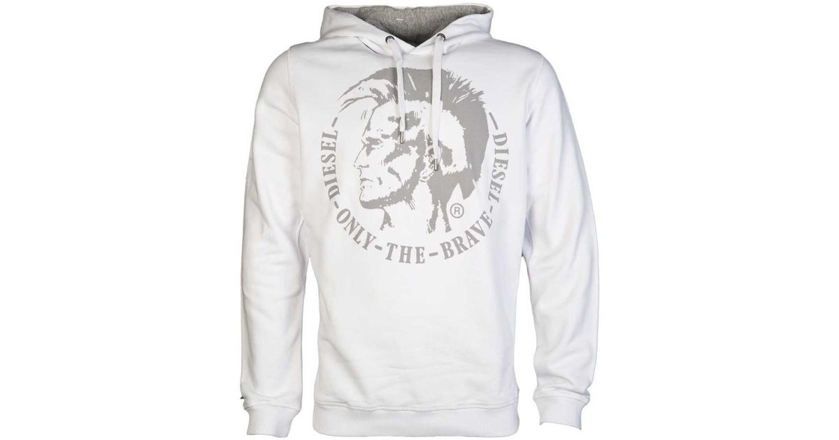 62bb98760 DIESEL Designer Hoodie In Grey White Navy And Charcoal Su Men's Sweatshirt  In White in White for Men - Lyst