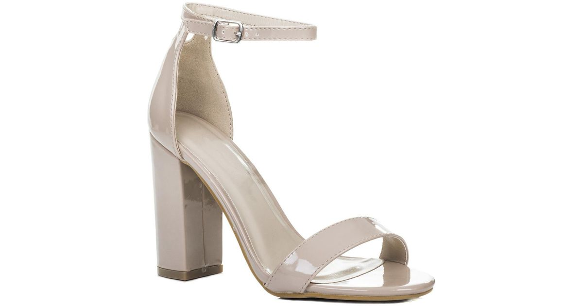 5363a0cb90f94 Spylovebuy - Sass Open Peep Toe Block Heel Sandals Shoes - Nude Patent  Women's Sandals In Pink - Lyst