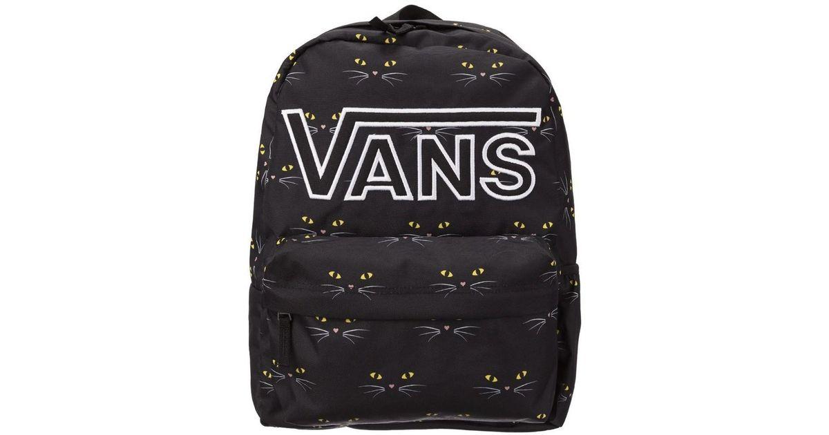 494b989303b4f Vans Realm Flying V Ba Black Cat Women s Backpack In Black in Black - Lyst