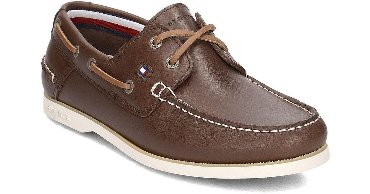 a830f0d1cfe2b8 Tommy Hilfiger Classic Leather Boatshoe Men s Boat Shoes In Brown in Brown  for Men - Lyst