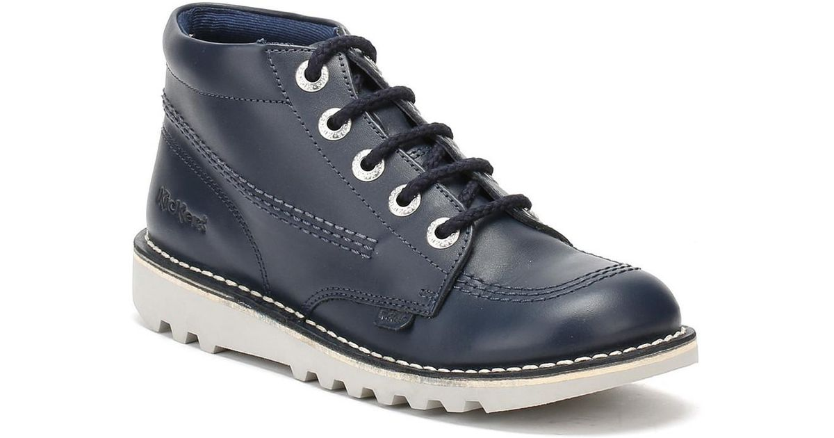 68713f1722 Kickers Youth Navy Leather Kick Hi Boots Girls s In Blue in Blue for Men -  Lyst