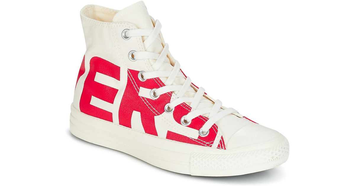 0051f2e1b665 Converse Chuck Taylor All Star Hi Wordmark Men s Shoes (high-top Trainers)  In White in White for Men - Lyst