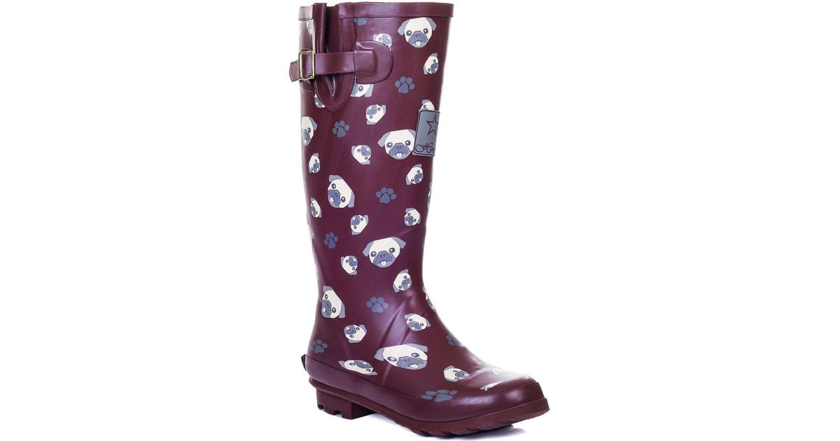 Lyst - Spylovebuy Igloo Knee High Flat Festival Wellies Rain Boots - Red  Pug Women's Wellington Boots In Red in Red