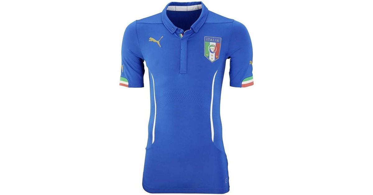 060c4f9df7 Puma 2015-2016 Italy Authentic Actv Home Football Shirt Men s Polo Shirt In  Blue in Blue for Men - Lyst
