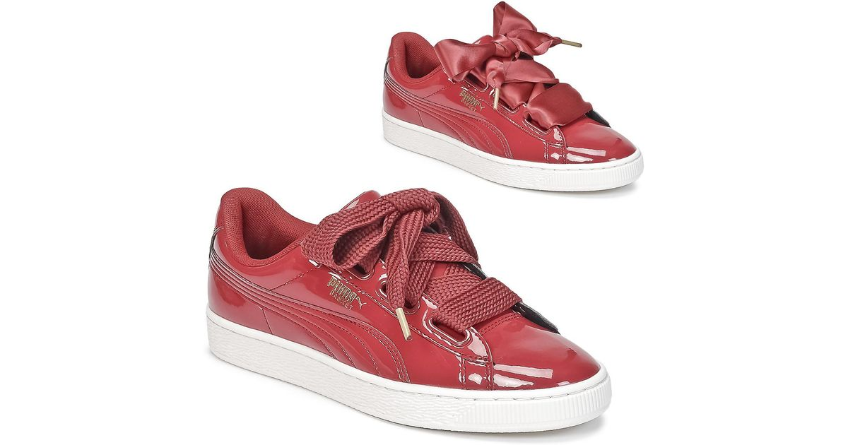 pretty nice 2baf2 944b4 PUMA - Basket Heart Patent Women's Shoes (trainers) In Red - Lyst