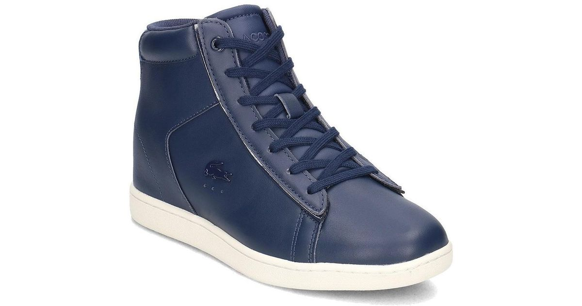 493d2aa4d893b Lacoste Carnaby Evo Wedge Women s Shoes (high-top Trainers) In Blue in Blue  - Lyst