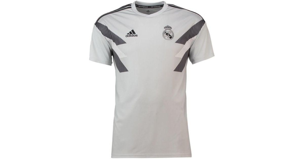 55163d3a adidas 2018-2019 Real Madrid Pre-match Training Shirt Men's T Shirt In Grey  in Gray for Men - Lyst