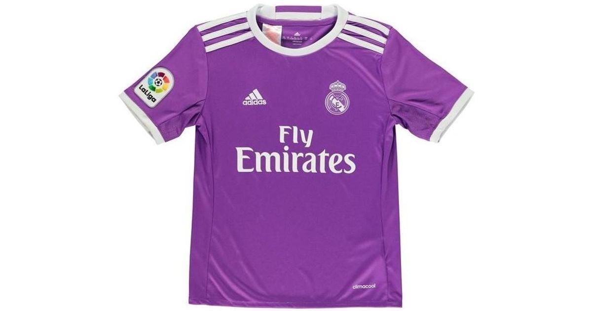 e61ded8b1 ... wholesale adidas 2016 17 real madrid away shirt navas 1 kids mens t  shirt in purple