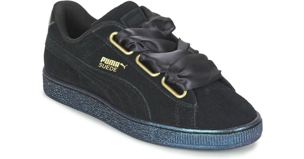 62f064f1663 PUMA Basket Heart Satin Wn s Women s Shoes (trainers) In Black in Black -  Lyst