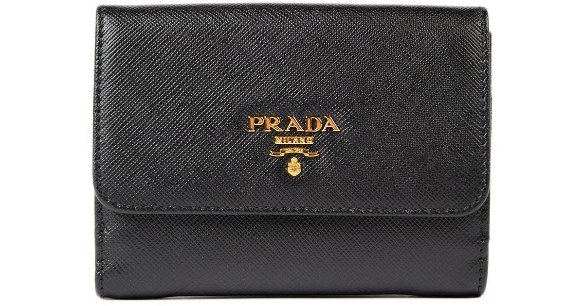 37c2b75fd3da Prada Saffiano Multicolor Wallet in Black - Lyst