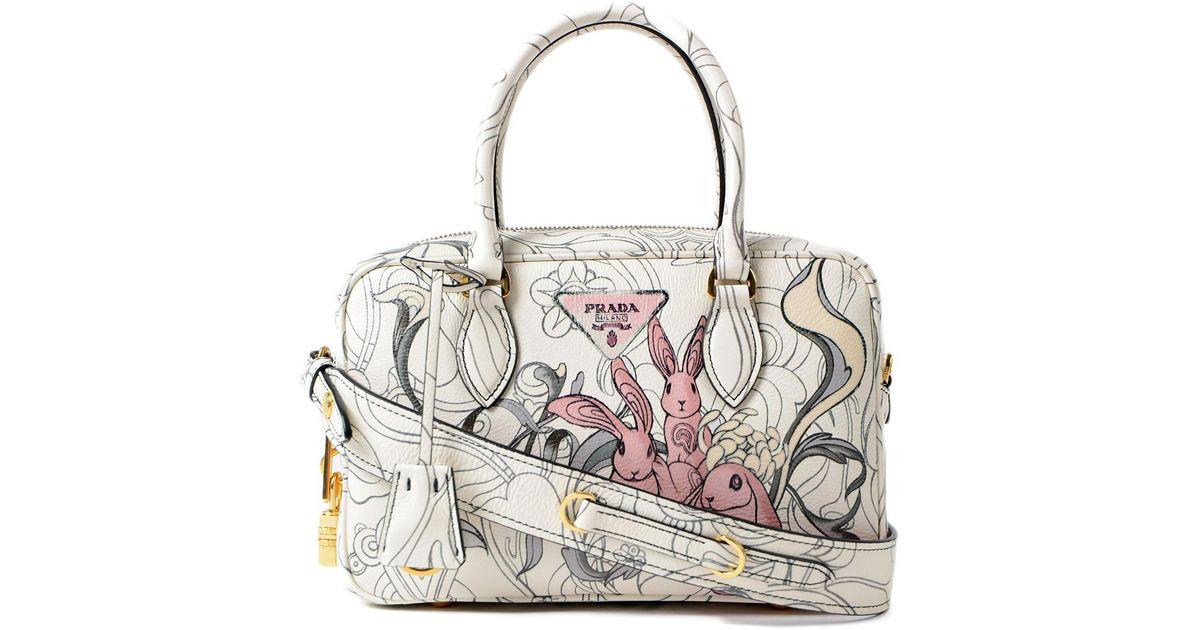 ece79bb6e6b3 Lyst - Prada Glace Calf Rabbit Handbag