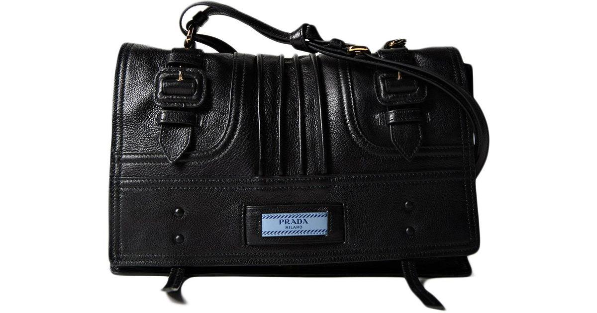 827551fe6f Prada Glace Calf Patch Etiquette Shoulder Bag in Black - Lyst