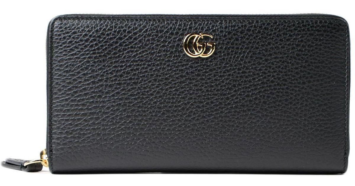 8918025e645 Lyst - Gucci Gg Marmont Zip Around Wallet in Black