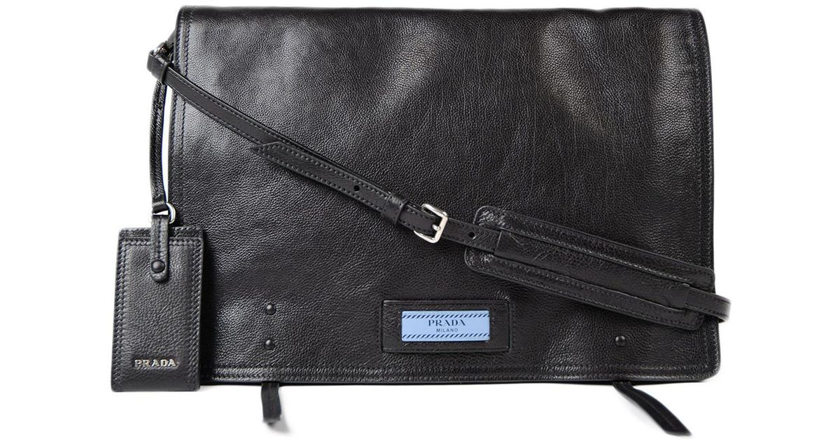 d8e4e7e6d55a Lyst - Prada Glace Calf Bag W/flap in Black