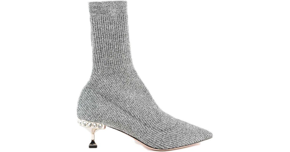 4c4c98c8884c Lyst - Miu Miu Maglia Lurex Ankle Boot H55 in Gray