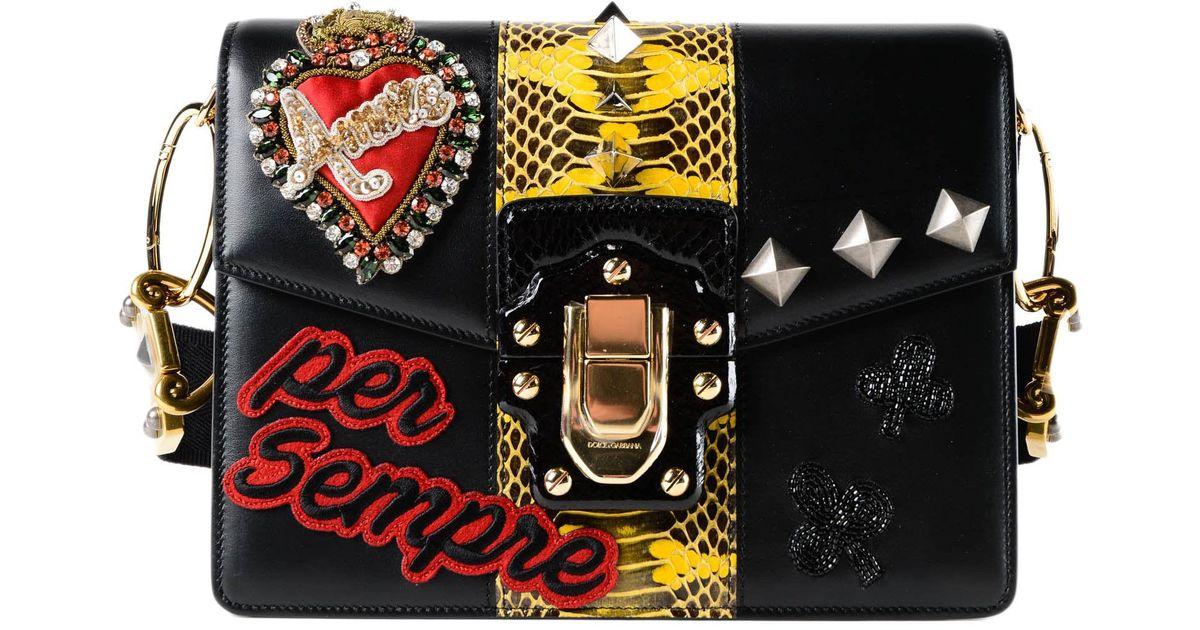 1be7b500c0 Lyst - Dolce   Gabbana Calfskin Printed Shoulder Bag