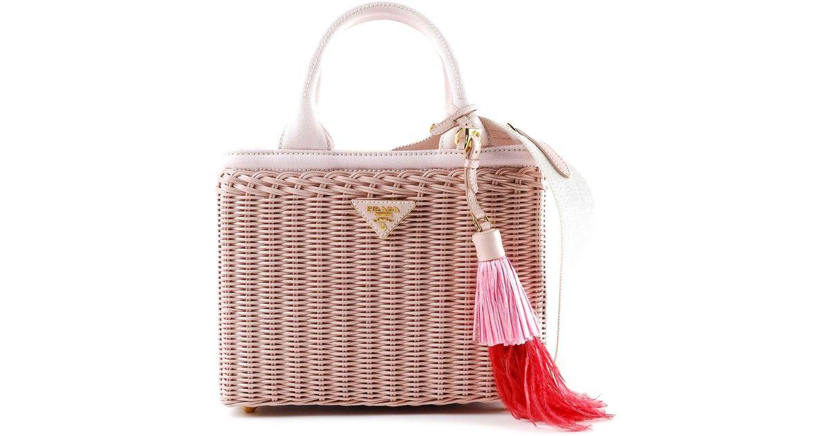 0d773dfa6c369f Prada Midollino+canapa Wicker Handbag - Lyst